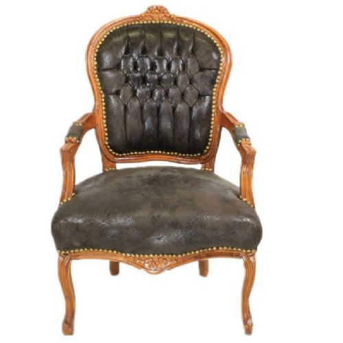 CHAIRS FRANCE BAROQUE STYLE LADY CHAIR WITH ARMRESTS MAHOGANY / SUDEINE #55F3